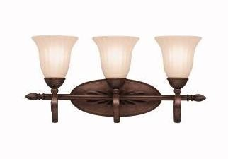 "Willowmore Collection 3-Light 23"" Tannery Bronze Bathbar with Distressed Umber Etched Glass 5928TZ"
