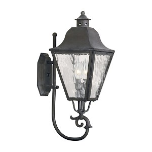 "High Falls Collection 2-Light 21"" Charcoal Wall Lantern with Water Glass 1106-C"