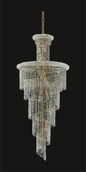 Spiral Design 28-Light 72'' Chrome or Gold Chandelier with European or Swarovski Crystals SKU# 11086