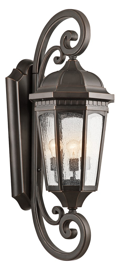 Rubbed Bronze Courtyard Collection 3 Light 40in. Outdoor Wall Light