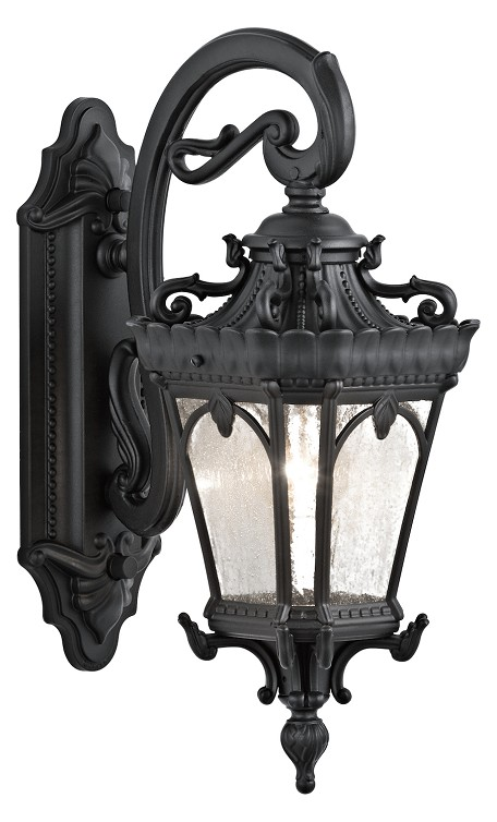 Black Tournai Single Light 18in. Tall Outdoor Wall Sconce with Seedy Glass Panels