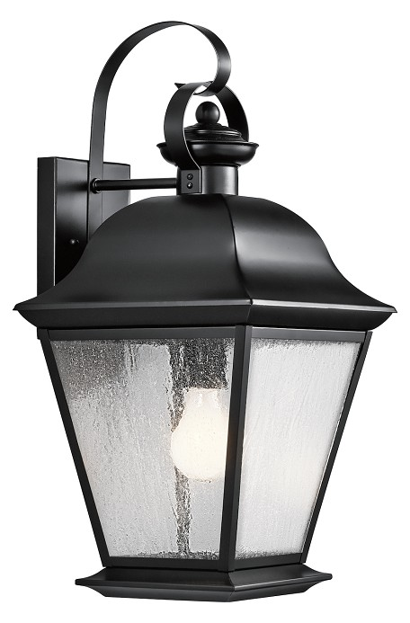 Black Mount Vernon Single Light 20in. Tall Outdoor Wall Sconce with Seedy Glass Panels