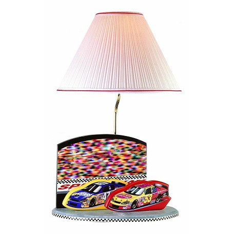 "Lite Source Kids Collection 1-Light 22"" Nascar Table Lamp with Off-White Pleated Fabric Shade 3NC50107"