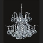 "Contour Design 3-Light 15"" Gold or Chrome Mini Chandelier with European or Swarovski Spectra Crystal Strands SKU# 16295"
