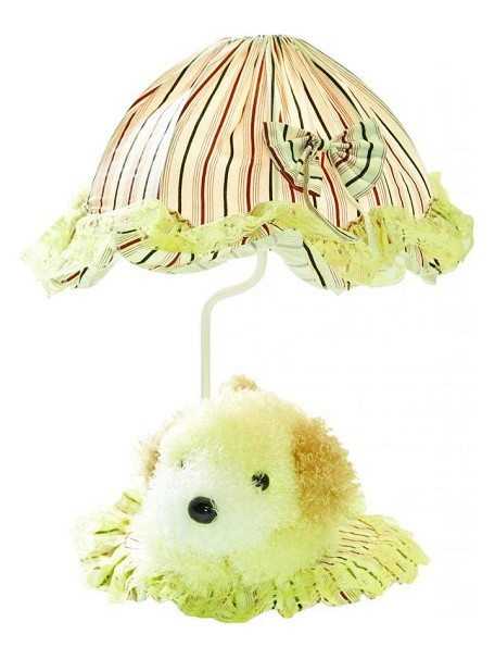 "Lite Source Kids Collection 1-Light 18"" Puppy Dog Table Lamp with Off-White Pleated Fabric Shade IK-6090YLW"