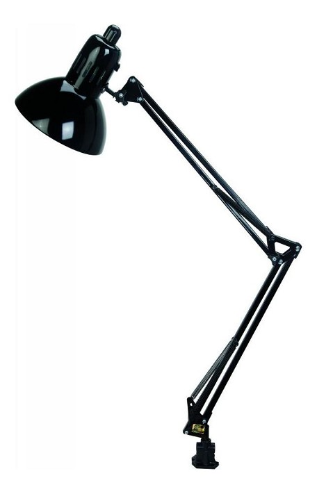 "Swing-Arm Collection 1-Light 35"" Black Metal Clamp on Lamp with Black Shade LS-105BLK"