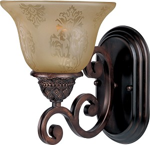 "Symphony Collection 1-Light 7"" Oil Rubbed Bronze Wall Sconce with Screen Amber Glass 11230SAOI"