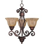 "Symphony Collection 3-Light 21"" Oil Rubbed Bronze Mini Chandelier with Screen Amber Glass 11235SAOI"