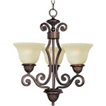 "Symphony Collection 3-Light 21"" Oil Rubbed Bronze Mini Chandelier with Soft Vanilla Glass 11235SVOI"