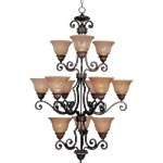 "Symphony Collection 12-Light 46"" Oil Rubbed Bronze Entryway Chandelier with Screen Amber Glass 11238SAOI"