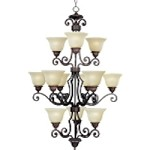 "Symphony Collection 12-Light 46"" Oil Rubbed Bronze Entryway Chandelier with Soft Vanilla Glass 11238SVOI"