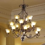 "Symphony Collection 15-Light 51"" Oil Rubbed Bronze Entryway Chandelier with Screen Amber Glass 11239SAOI"