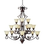"Symphony Collection 15-Light 51"" Oil Rubbed Bronze Entryway Chandelier with Soft Vanilla Glass 11239SVOI"