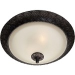 "Symphony Collection 2-Light 19"" Oil Rubbed Bronze Flush Mount Ceiling Light with Soft Vanilla Glass 11240SVOI"