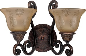 "Symphony Collection 2-Light 16"" Oil Rubbed Bronze Wall Sconce with Screen Amber Glass 11247SAOI"