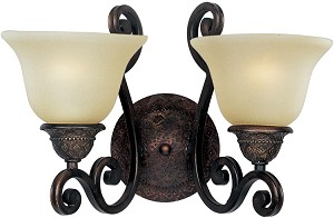 "Symphony Collection 2-Light 16"" Oil Rubbed Bronze Wall Sconce with Soft Vanilla Glass 11247SVOI"