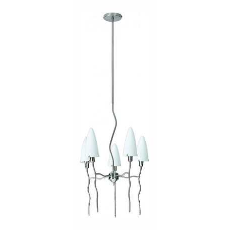 "Kaub Collection 18"" 5-Light Polished Steel Chandelier LS-14525FROST"