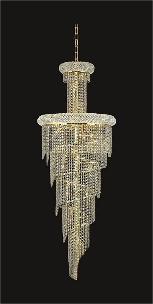 Spiral Design 32-Light 86'' Gold or Chrome Chandelier with European or Swarovski Crystals  SKU# 11374