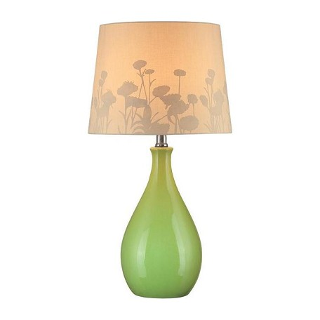 "Edaline Collection 1-Light 22"" Green Table Lamp with Silhouette Paper Shade LS-21489GRN"