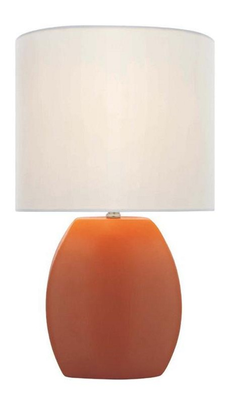 "Reiko Collection 1-Light 17"" Orange Ceramic Table Lamp with Off-White Elliptical Fabric Shade LS-21506ORN"