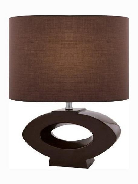"Kenadia Collection 1-Light 21"" Coffee Ceramic Table Lamp with Coffee Elliptical Fabric Shade LS-21646COFFEE"