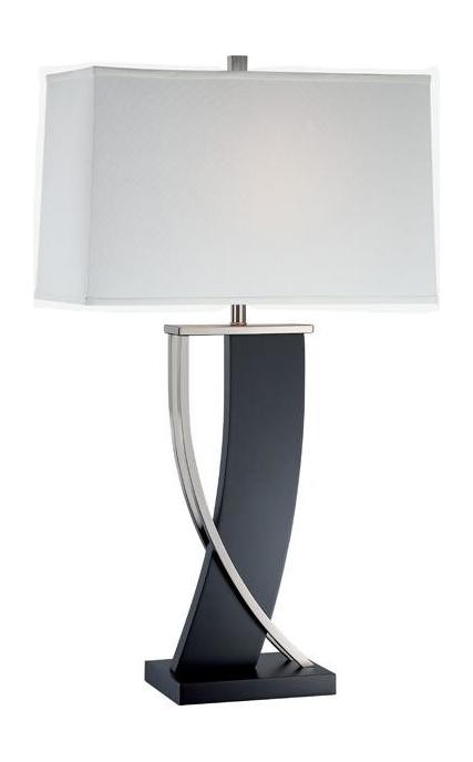 "Estella Collection 1-Light 31"" Espresso Wood & Polished Steel Table Lamp with Off-White Fabric Shade LS-21788"