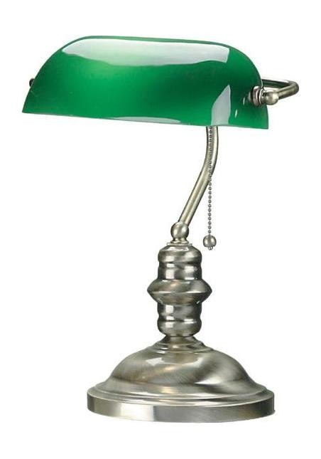 "Bankers Lamp Collection 1-Light 14"" Antique Brass Desk Lamp with Green Glass Shade LS-224AB"