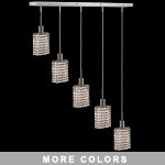 "Hollywood Design 5-Light 34"" Linear Oval Adjustable Pendants 30% Lead or Swarovski Spectra Crystal SKU# 11488"