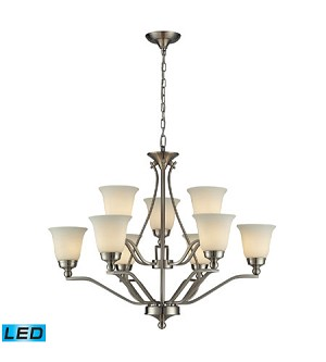 ELK Lighting Nine Light Brushed Nickel Up Chandelier - 11504/6+3-LED
