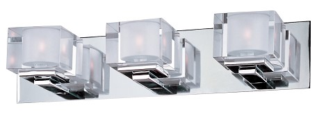 "Cubic Collection 3-Light 21"" Polished Chrome Vanity with Clear Glass 10003CLPC"