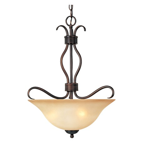 "Basix Collection 3-Light 22"" Oil Rubbed Bronze Inverted Bowl Pendant with Wilshire Glass 10121WSOI"