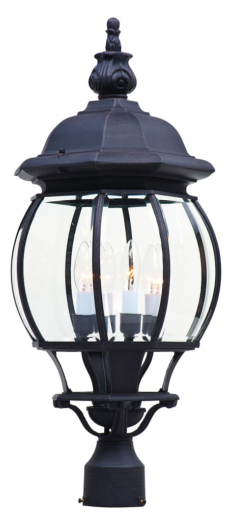 Maxim Four Light Rust Patina Clear Glass Post Light - 1038RP