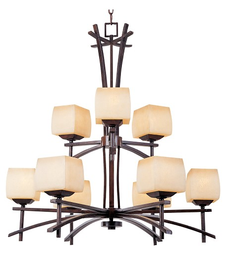 Nine Light Wilshire Glass Roasted Chestnut Up Chandelier