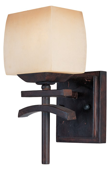 "Asiana Collection 1-Light 5"" Roasted Chestnut Wall Sconce with Wilshire Glass 10996WSRC"