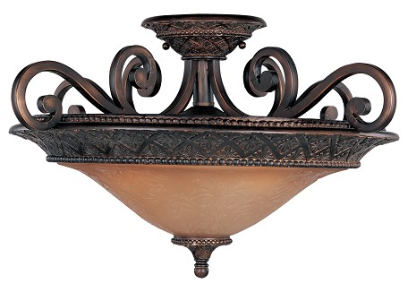 "Symphony Collection 3-Light 22"" Oil Rubbed Bronze Semi-Flush Mount with Screen Amber Glass 11241SAOI"