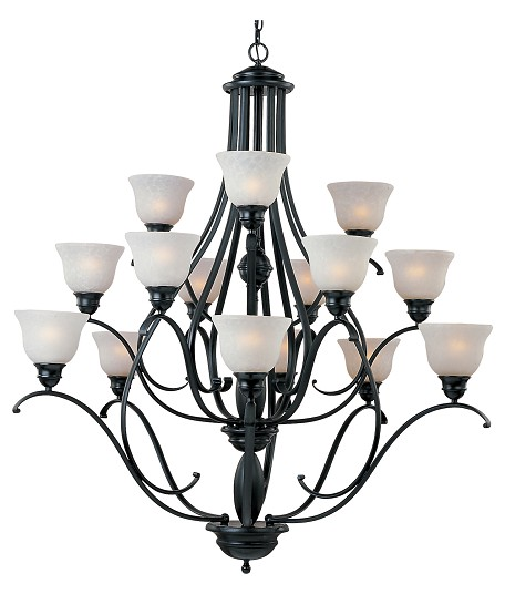 Fifteen Light Black Ice Glass Up Chandelier