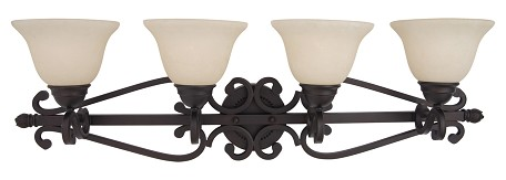 "Manor Collection 4-Light 37"" Oil Rubbed Bronze Bathroom Vanity Fixture with Frosted Ivory Glass 12214FIOI"