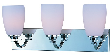 Maxim Three Light Polished Chrome Satin White Glass Vanity - 20028SWPC
