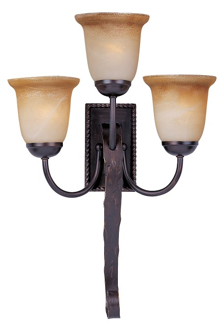 Maxim Three Light Oil Rubbed Bronze Vintage Amber Glass Wall Light - 20619VAOI