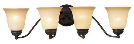 "Basix Collection 4-Light 27"" Oil Rubbed Bronze Bathroom Vanity Fixture with Wilshire Glass 2123WSOI"