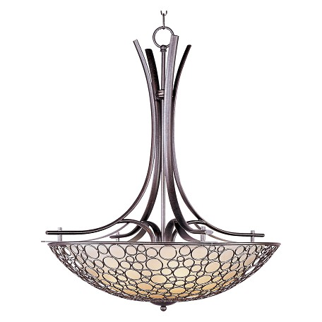"Meridian Collection 4-Light 35"" Umber Bronze Invert Bowl Pendant with Dusty White Glass 21344DWUB"