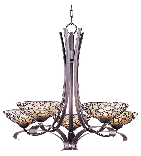 Five Light Dusty White Glass Umber Bronze Up Chandelier