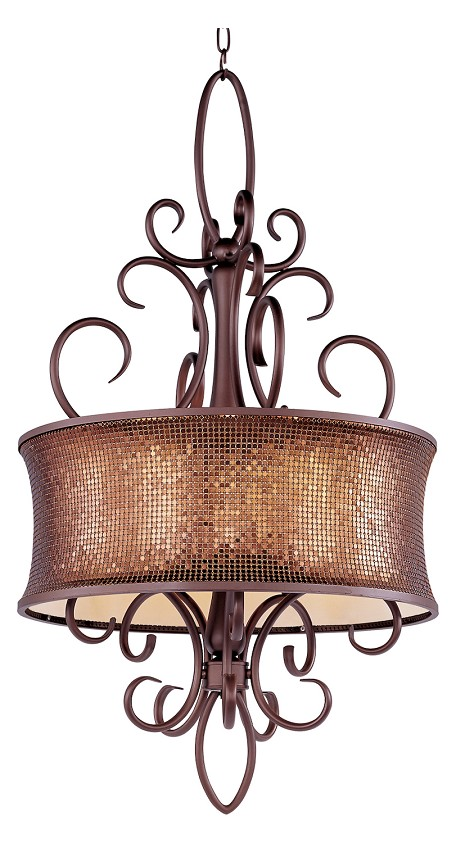 "Alexander Collection 5-Light 40"" Bronze Chandelier with Shimmer Drum Shade 24164SBUB"