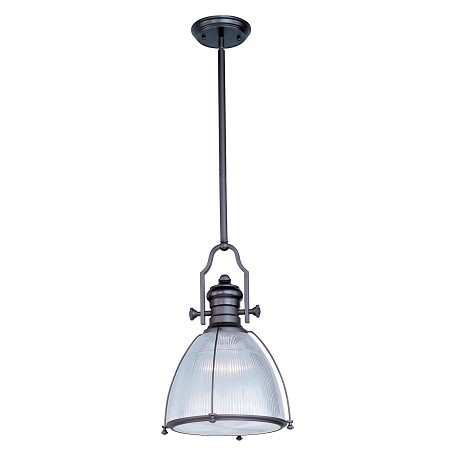 "Hi-Bay Collection 1-Light 20.25"" Bronze Pendant and Clear Halophane Glass 25003CLBZ"
