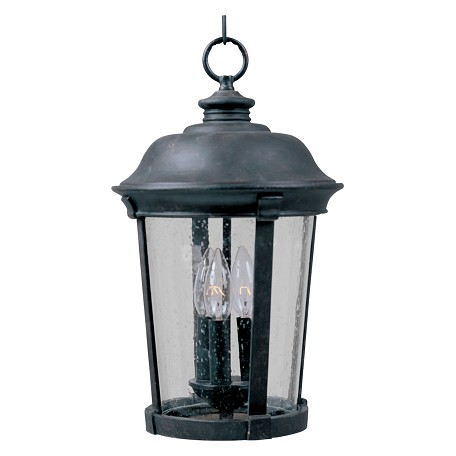 "Dover DC Collection 3-Light 10"" Bronze Outdoor Hanging Light with Seedy Glass 3028CDBZ"
