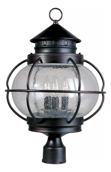 "Portsmouth Collection 3-Light 22"" Oil Rubbed Bronze Outdoor Post Lantern with Seedy Glass 30501CDOI"