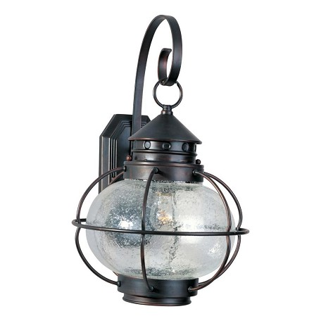 "Portsmouth Collection 1-Light 16"" Oil Rubbed Bronze Outdoor Wall Lantern with Seedy Glass 30503CDOI"