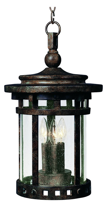 "Santa Barbara Collection 3-Light 17"" Sienna Outdoor Hanging Light with Seedy Glass 3138CDSE"