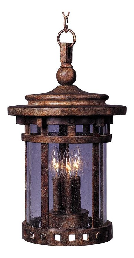 "Santa Barbara Collection 3-Light 19"" Sienna Outdoor Hanging Light with Seedy Glass 40039CDSE"