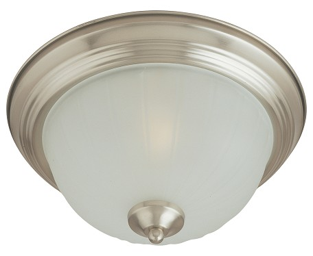 "Essentials Collection 2-Light 13"" Satin Nickel Flush Mount with Frosted Glass 5831FTSN"